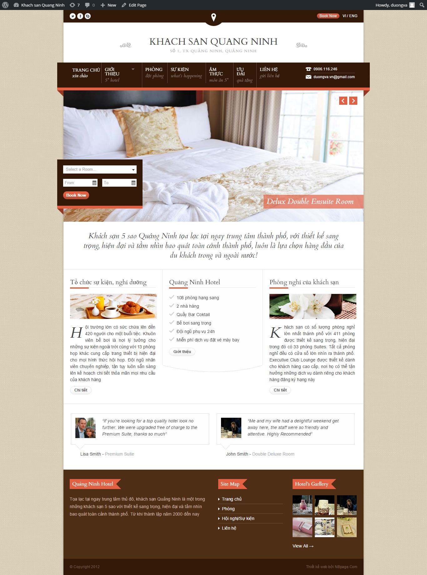 Mẫu website khách sạn booking bằng wordpress